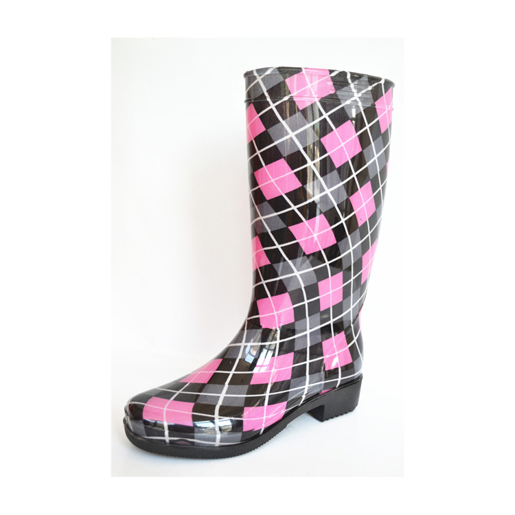 NEW STYLE PRINTED DESIGNER GUMBOOTS WOMEN RUBBER RAIN PVC BOOTS WITH STEEL TOE