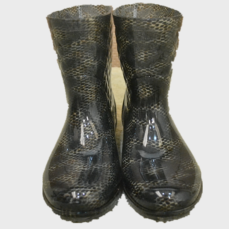 WOMEN FOLDING GUMBOOTS HALF PVC WORK BOOTS 25CM WITH PATTERN COVER